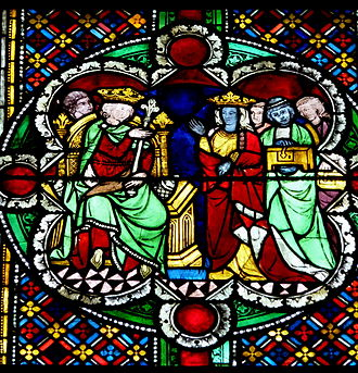 Queen of Sheba - Queen of Sheba and Solomon, around 1280, window now in Cologne Cathedral