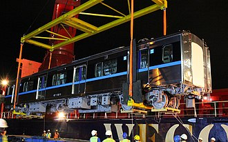 Jakarta MRT - Jakarta MRT traincar being unloaded in Port of Tanjung Priok in Jakarta, April 2018