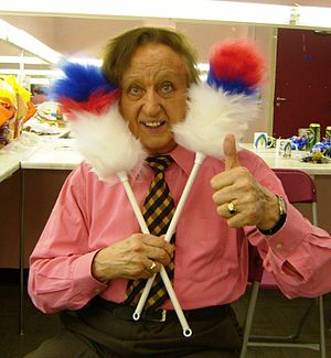 "Ken Dodd - Dodd with his ""tickling sticks"""