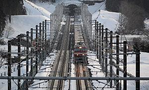 Hokkaido Shinkansen - The dual-gauge Kaikyo Line near Kikonai Station in March 2016