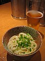 Kama tama udon and beer by nyaa birdies perch.jpg