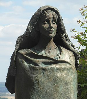 Eibingen Abbey - Statue of Hildegard of Bingen, bronze by Karlheinz Oswald (1998)