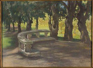 Aleja dębowa w parku przy Villa Borghese w Rzymie
