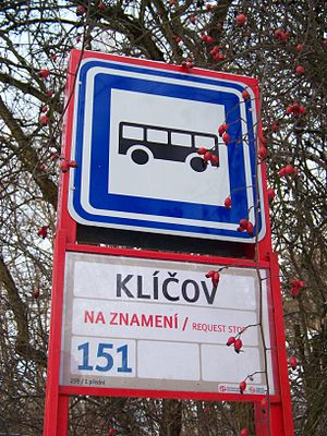 Request stop - A sign of a request stop (zastávka na znamení) of urban bus line in Prague