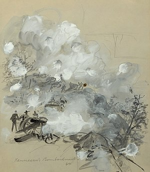 "Alfred Waud - ""Kennesaw's Bombardment, 64"", sketch of the Battle of Kennesaw Mountain, scanned from the original and digitally restored."