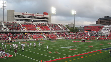 The Stony Brook Seawolves during their 2012 homecoming game Kenneth P LaValle Stadium.jpg
