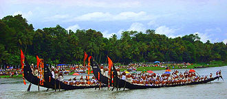 Chundan vallam - Snake boats during the Aranmula Uthrattathi Boat Race