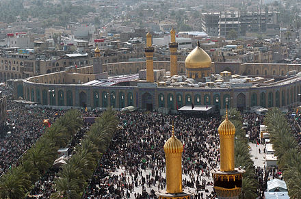 The Imam Hussein Shrine in Karbala, Iraq is a holy site for Shia Muslims. Kerbela Hussein Moschee.jpg