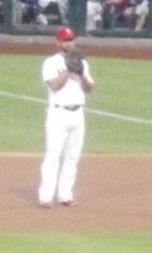 Kevin Frandsen - Philadelphia Phillies first baseman Kevin Frandsen looks on in a game on September 7, 2013