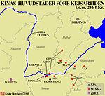 Karta över Kinas huvudstäder under dynastierna Xia, Shang och Zhou..