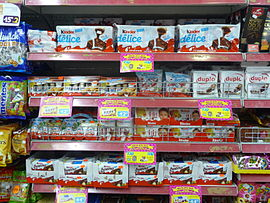 Kinder products at the supermarket.JPG