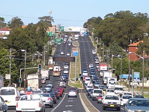 A3 (Sydney) - A3 (King Georges Rd) looking south at Roselands NSW