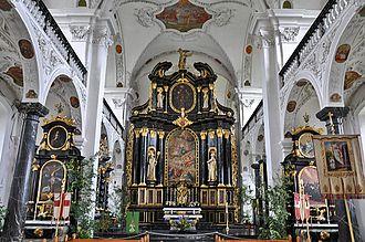 Pfäfers Abbey - Baroque church interior of Pfäfers Abbey.