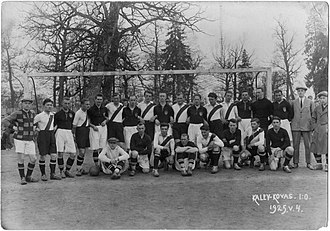 ŠŠ Kovas Kaunas - ŠŠ Kovas Kaunas and Estonian Football Club Kalev Tallinn (white shorts) after match, won by Kalev 1:0 (1:0). Kaunas, 4th of May 1925.
