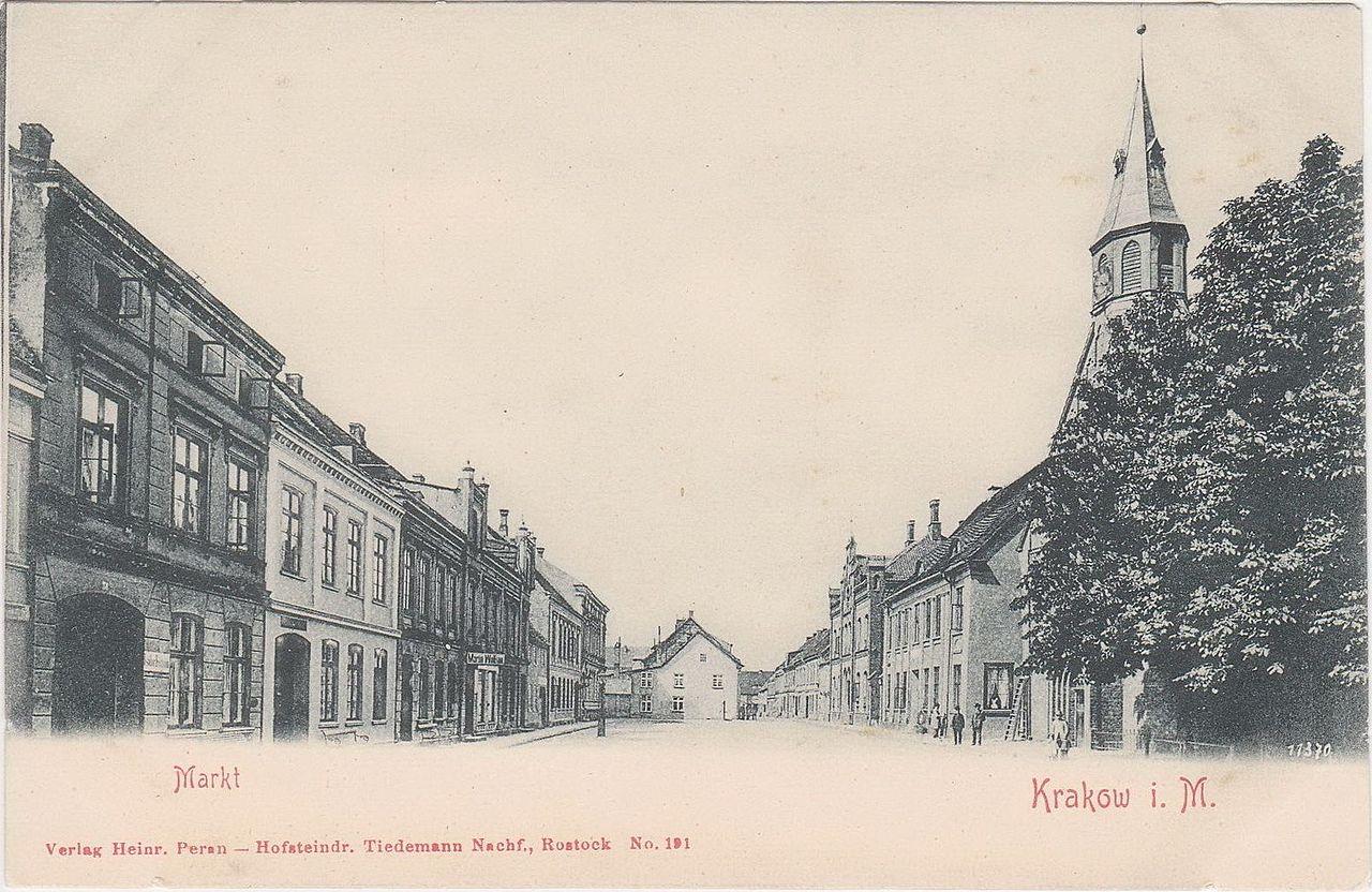Krakow in Mecklenburg, Marktplatz um 1900.jpg