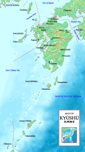 Kyushu - Map of Kyushu region with prefectures