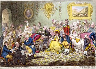 "James Gillray - L'Assemblée Nationale (1804) was called ""the most talented caricature that has ever appeared"", partly due to its ""admirable likenesses"". The Prince of Wales paid a large sum of money to have it suppressed and its plate destroyed."