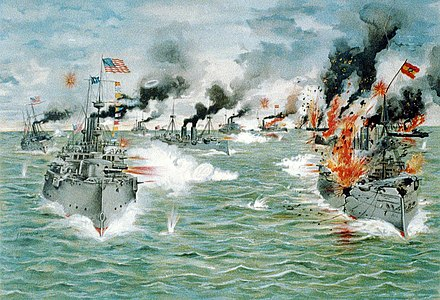 The Asiatic Squadron destroying the Spanish fleet in the Battle of Manila Bay on 1 May 1898. LC-USZC4-701 (17518506711).jpg