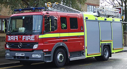 A fire engine of the London Fire Brigade, the second-largest service in the country after the Scottish Fire and Rescue Service LFB Pump Ladder.jpg