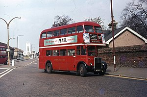 London Buses route 157 - AEC Regent III RT in Morden in April 1973