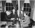 L to R, President Truman, George C. Marshall, Paul Hoffman, and Averell Harriman in the oval office discussing the... - NARA - 200035.tif