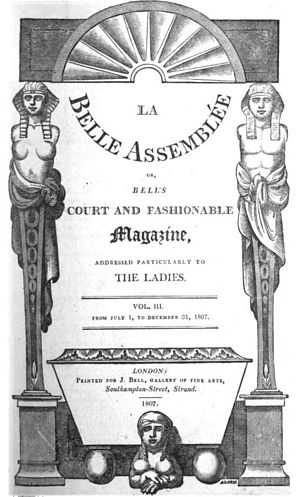 La Belle Assemblée - La Belle Assemblée, title page, Volume III, July to December 1807.