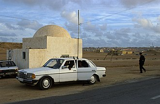 Western Sahara - A Moroccan police checkpoint in the suburbs of Laayoune