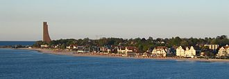Laboe - Beach of Laboe, with the recognizable outline of the Laboe Naval Memorial at the left