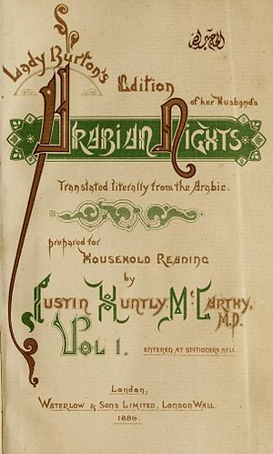 The Book of the Thousand Nights and a Night - Title page of Volume I of Lady Burton's Edition of Her Husband's Arabian Nights.