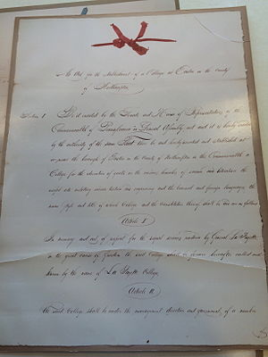 James Madison Porter - A copy of the original charter of Lafayette College