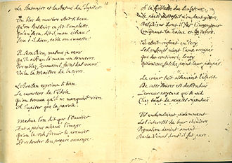 "La Fontaine's Fables - Facsimile of the manuscript of ""The Sculptor and the Statue of Jupiter"""