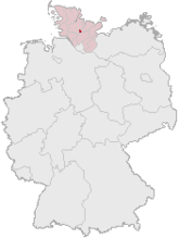 Map of Germany, Position of Neumünster highlighted