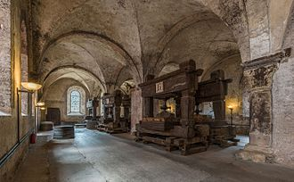 Eberbach Abbey - The lay brothers' refectory, home to 12 historic wine presses of Eberbach Abbey