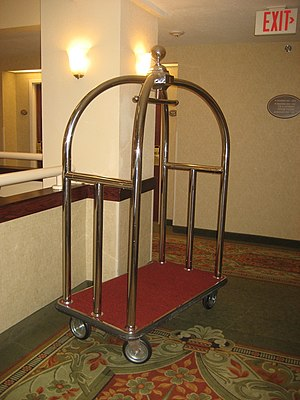 Baggage cart - A luggage cart in a hotel hallway