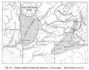 Lake Chicago - USGS map of Glacial Lakes Maumee and Chicago