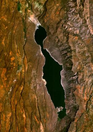 Lake Bogoria - Satellite image of Lake Bogoria taken from World Wind.
