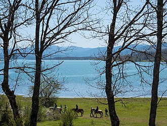 Lake Plastiras - View of Plastiras Lake (alternative names: Tavropos Lake or Megdovas Lake)