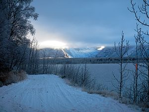 a56a2ba596fa ... Chugach State Park. The Lakeside Trail along Eklutna Lake in winter