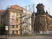"""Architecture (like the """"deconstructivist"""" fire escape on the baroque Landhaus) is a persistent subject of controversy in Dresden"""