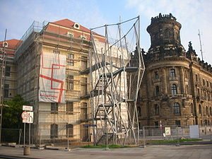 Landhaus (Dresden) - The controversial fire escape.