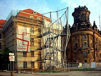 Landhaus (Dresden) - The controversial fire escape.