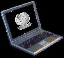 Un laptop collegato a Wikipedia