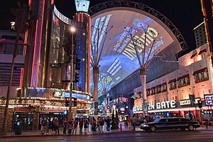 Fremont Street Experience - The FSE with the neon lights on