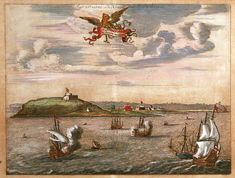 Gorée - Orange and Nassau Fort at Gorée island. Coloured engraving, Holland, 17th century