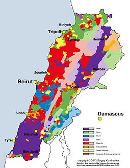 Distribution of main religious groups of Lebanon according to last municipal election data. Lebanon religious groups distribution.jpg