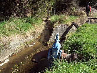 Water of Leith (New Zealand) - The headwaters of the  Water of Leith are diverted around Sullivan's Dam in a series of concrete water races.