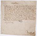 Lettre de la reine Marie d'Anjou, veuve de Charles VII, au Parlement de Paris, pour prier la cour de hâter l'expédition d'un procès - Archives Nationales - AE-II-466.jpg