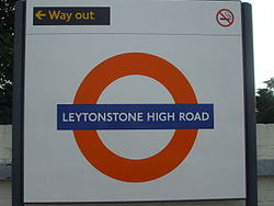 Leytonstone High Road stn roundel.JPG