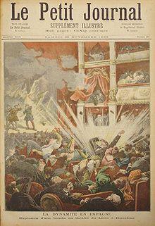 Explosión de la bomba en elGran Teatro del LiceodeBarcelonapor el anarquistaSantiago Salvador Franch, en la portada del periódicoLe Petit Journal(1893).