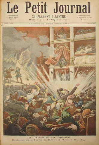 Propaganda of the deed - Explosion of Liceu of Barcelona by the anarchist Santiago Salvador in the cover of the newspaper Le Petit Journal, 7 November 1893
